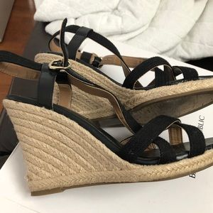 Banana Republic Shoes - Banana Republic Black Strappy Wedges